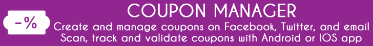 Coupon Manager For Facebook Offers, Twitter & Email Lists